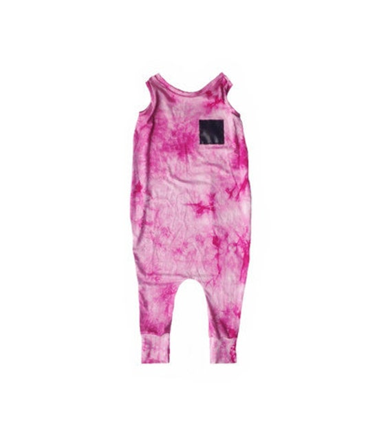 Pink Tie Dye Patch Romper baby romper baby clothes by
