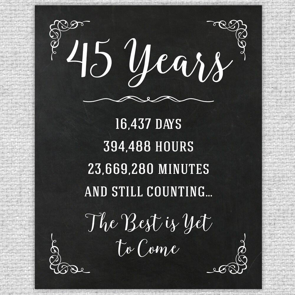 45th Anniversary Gift 45th Year Wedding Anniversary 45th