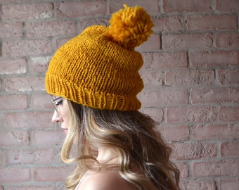 Pompom Knit Hat | MADE TO ORDER | Yellow Wool Slouchy Beanie