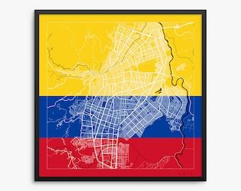 Cali City Street Map, Cali Colombia, Flag Modern Art Print