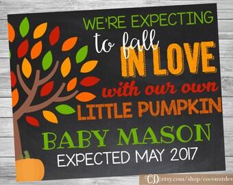 Fall Pregnancy Announcement / Printable Chalkboard / Pumpkin Pregnancy Announcement Sign / Little Pumpkin / Digital File