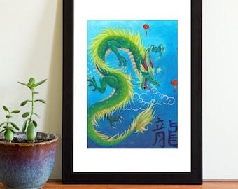 Art Print - Chinese Dragon Painting 7x5
