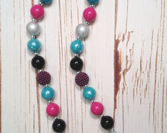 Adult Chunky Necklace, Blue and Purple Chunky Necklace