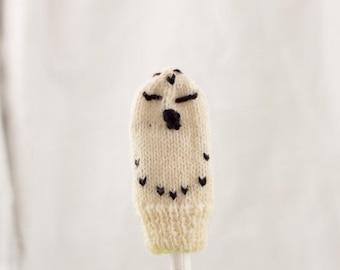 Snowy Owl Knit Wool Finger Puppet