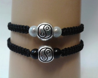 His and hers yin yang bracelets - tai chi bracelet - couples bracelets - best friends bracelets - yin yang jewelry - adjustable bracelets