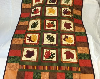 Autumn Leaves in Fall Colors of Red Green Gold Yellow Orange Purple Brown Lap Quilt Sofa Scarf Home Decor