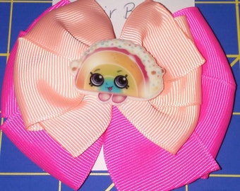 Pink Stacked Shopkins Taco Hairbow