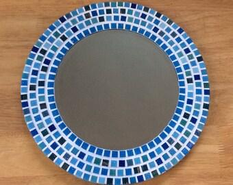 Turquoise Wall Mirror round mosaic wall mirror purple mauve 30cm