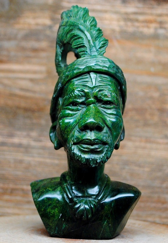 Green verdite africa shona tribe stone carving by