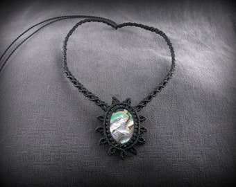Abalone shell Macrame necklace. Rare organic stone. Knotted thread. Black necklace.