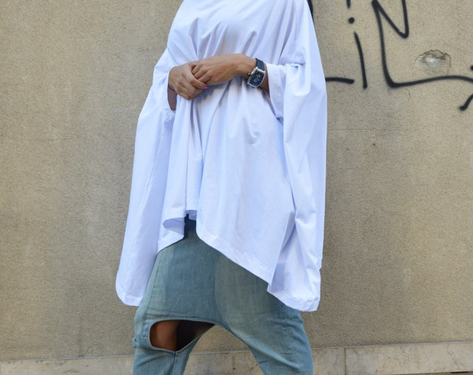 Oversize Loose White Tunic, Plus Size Casual Sweatshirt, Both Short And Long Sleeves, Cotton Maxi Tunic by SSDfashion