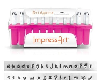 Metal Stamping Kit Impressart Bridgette Lowercase Alphabet Letter Stamps with Bonus Stamps 3mm Impression -No Shipping Costs within USA- PRE