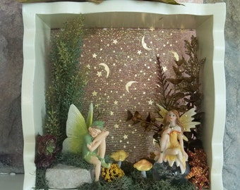 Two Fairies under Moon & Stars Glow in Scalloped Wood Shadowbox