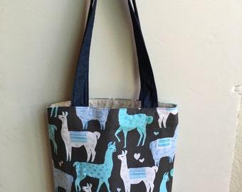 Llama handmade handbag, tote, purse