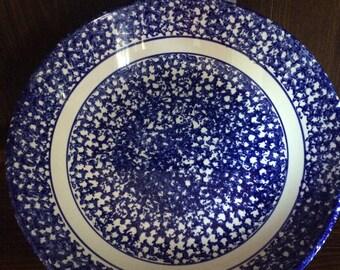 Vintage Blue & White Spongeware Bowl - Made in Italy