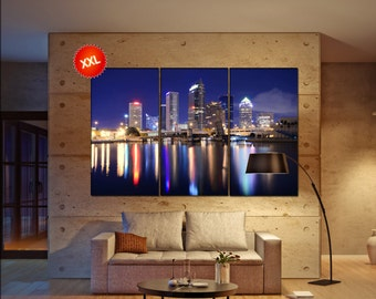 Tampa Bay Skyline wall decor art  Tampa Bay black white  Tampa Bay canvas wall art  canvas wall art