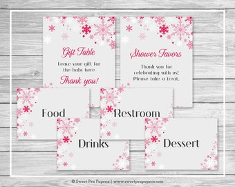 Winter Wonderland Baby Shower Table Signs - Printable Baby Shower Table Signs - Winter Wonderland Baby Shower - Signs - EDITABLE - SP115