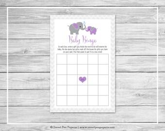 Elephant Baby Shower Baby Bingo Game - Printable Baby Shower Baby Bingo Game - Purple and Gray Elephant Baby Shower - Baby Bingo Game- SP116