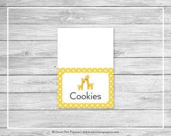 Giraffe Baby Shower Buffet Labels - Printable Baby Shower Buffet Labels - Yellow Giraffe Baby Shower - Food Labels - EDITABLE - SP131