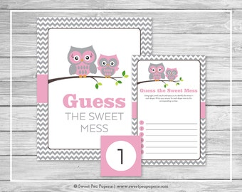 Owl Baby Shower Guess The Mess Game - Printable Baby Shower Guess Sweet Mess Game - Pink Owl Baby Shower - Diaper Game - Owl Shower - SP134
