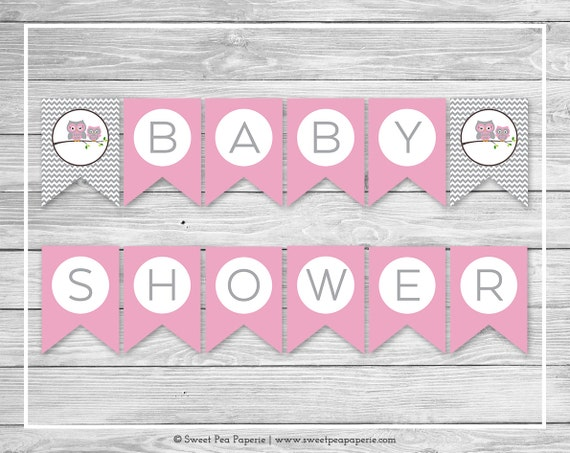 Owl Baby Shower Banner - Printable Baby Shower Banner - Pink Owl ...