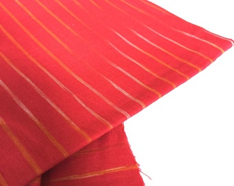 Ikat Fabric, Indian cotton, Handwoven fabric, Red Ikat fabric,