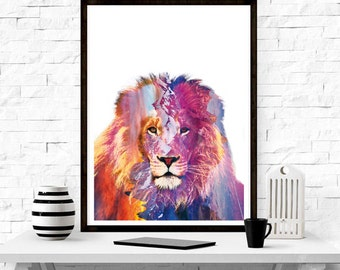 Lion ,wall art, home decor ,minimalism, graphic design , nordic design ,scandinavian design,