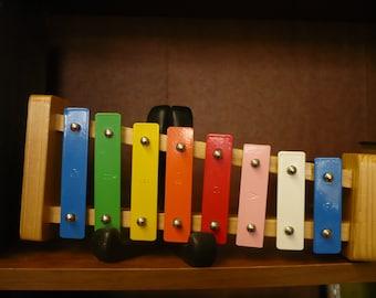 Multi-Colored Rainbow Xylophone, Wood Frame, Metal Keys
