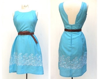 1960 Man Men Sky Blue Sundress French Vintage