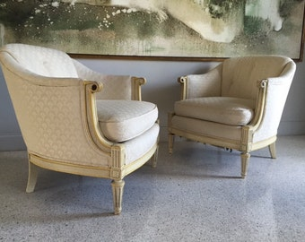 Pair Of Hollywood Regency Mid-Century Modern Club Chairs.