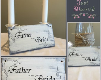 Custom Wedding Chair Sign; Bride, Mr & Mrs, Father, Mother of the Bride or Groom; Custom Rustic Wedding Sign.