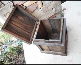 Wood Trash Can, Bathroom Trash, Home Decor, Office Trash Can, Oak and Walnut Trash Can, Rustic Home Decor, Storage, Garbage Can, Bin, Waste
