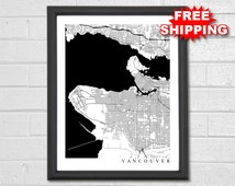 Vancouver Map Art - Map Print - City Map - Black and White Map - Vancouver Map - Vancouver BC - Vancouver - Black & White Collection