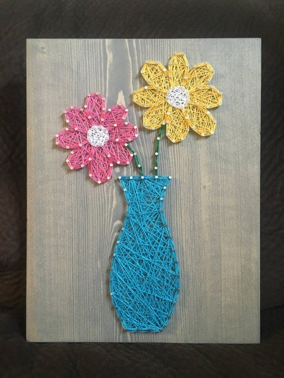 custom flower vase string art floral gift wall art made to
