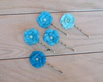Blue Flower Bobby Pins, Set of 5 Bobby Pins