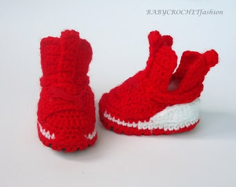 Crochet Baby Shoes, Baby Slippers,  Puma Fierce Shoes, Gift Baby Shoes,  Red Sneakers, Red puma shoes, Crochet baby boots, Booties for Baby