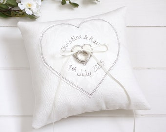 Personalised Wedding Ring Pillow - Embroidered Wedding Ring Cushion - Something Blue For Bride - Wedding Ring Holder - Ring Bearer Pillow