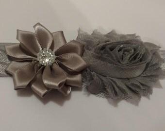 Gray Flower Infant Headband