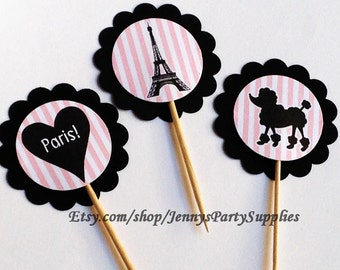 Set of 12 Eiffel Tower Cupcake Toppers, Paris Bridal Shower, Paris Baby Shower Toppers, Paris Cupcake Toppers