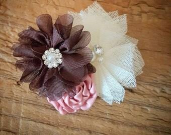 brown cream and mauve shabby flower clip headband