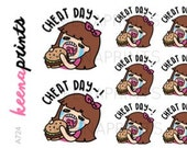 A724 | CHEAT DAY Keenachi Stickers - burger stickers, funny stickers, eat stickers, junk food stickers, lunch stickers, dinner stickers