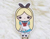 CHIBI ALICE  Bookmark - Cute Paperclip, Laminated Page marker perfect for Books, planners, journals and notebooks
