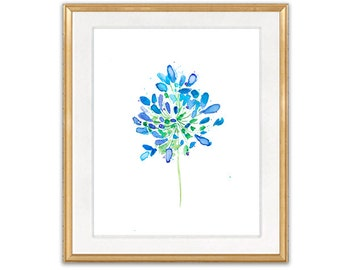 Watercolor Giclee Art Print Blue Flower Home Decor, Watercolor Painting Flower - 3