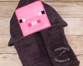 Mine pig hooded towel