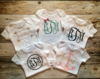 Baby girl set of 5 personalized monogrammed onesies, coming home onesies, baby shower gift