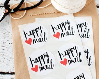 Happy Mail Stickers/Seals - Set of 12,  happy mail, stickers, heart, seals, white stickers, round stickers, packaging, paper goods