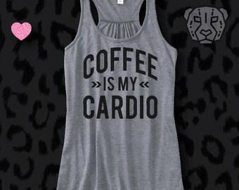 COFFEE Is My CARDIO, Flowy racerback tank, fitness, gym,workout,yoga,pilates,barre, funny, coffee,cardio