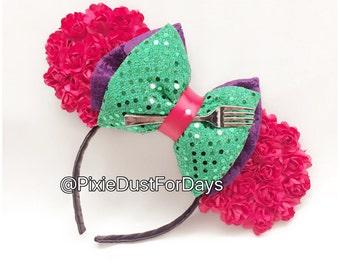 Ariel inspired mouse ears, mermaid mouse ears, mermaid floral mouse ears, red floral mouse ears