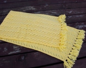 Handknitted Scarf, Winter Accessories, Handknit Yellow Acrylic scarf, Handmade Yellow Scarf, Warm