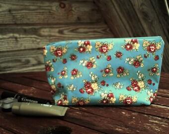 Flower Make Up Bag, Zipper Pouch, Cosmetic Bag, Handmade, Redand Yellow Flower, Women, Organize